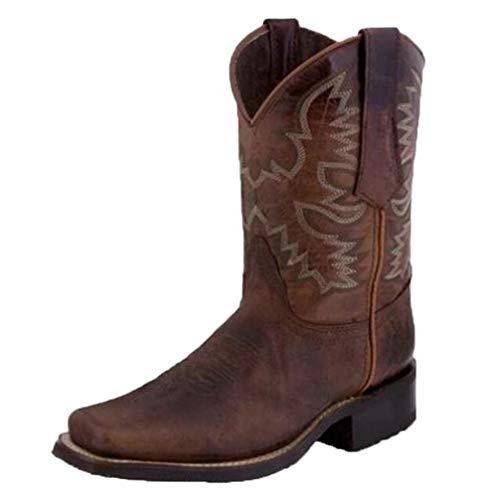 HarryHyar Unisex Classico Western Stivali Floreale Stivali Western Solid Pull On Stivali Medio Tacco a Blocco Vestito Stivali Brown Numero 43 Asiatico