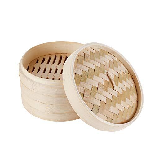 HANHAN Vaporiera in bambù Naturale, Cestello Cottura a Vapore 2 Livelli con Coperchio, Ideale per Ravioli, Verdure e Dim Sum (15CM)