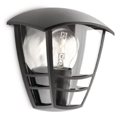 Philips Creek Lampada da Parete per Esterno, Lanterna Luce Diffusa, Alluminio Nero