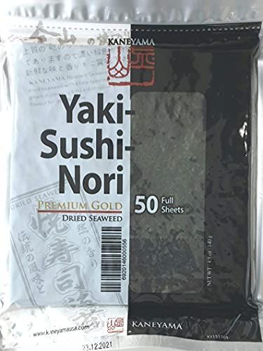 Yakinori Premium Gold, Fogli di alghe Nori Sushi di prima qualità, 50 fogli interi, 140g (50 x 2,8g)
