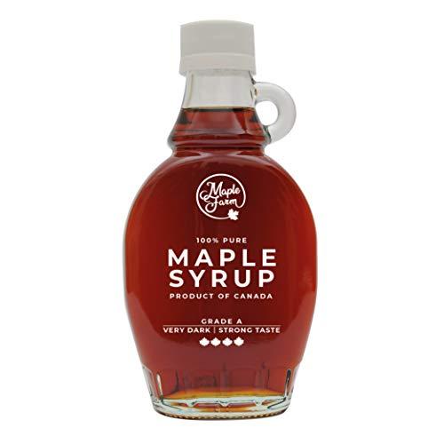 MapleFarm - Puro sciroppo d'acero Canadese Grado A (Very Dark, Strong taste) - Bottiglia 189 ml (250 g) - Pure maple syrup - Puro succo d'acero