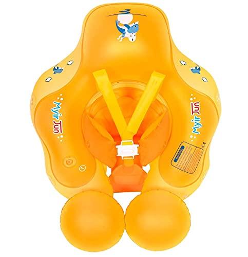 Myir JUN Salvagente Bambini, Anello di Nuoto per Bambino Salvagente con Mutandina per Piscina Galleggiante Gonfiabile Neonato Neonati Regolabile Doppio Airbag (Arancio, L)