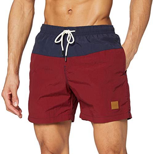 Urban Classics Block Swim Shorts Pantaloncini da Bagno, Nvy/Burgundy, M Uomo