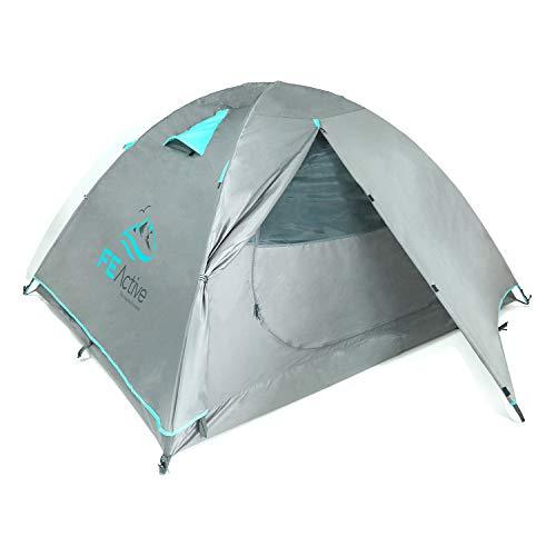 FE Active Tenda Campeggio 4 Posti - Tenda Impermeabile di Alta Qualità per 4 Stagioni Copertura Antipioggia Rip-Stop, Struttura in Alluminio per 3 o 4 Persone - Escursionismo   Disegnata in California