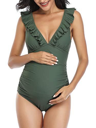 Summer Mae Premaman Costume da Bagno Donna Intero Un Pezzo Elegante Balza Incinta Ruching Costumi Interi Donna di maternità Mare Bikini da Spiaggia Verde XL