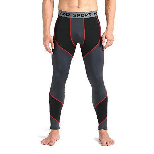 AMZSPORT Pantaloni Compressione da Uomo Calzamaglia Corsa Leggins Palestra Sportivi Rosso M