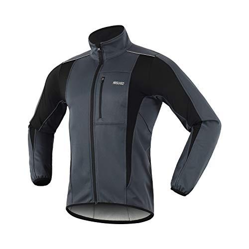 Arsuxeo - Giacca da ciclismo per uomo, impermeabile antivento, softshell, invernale, termica, traspirante 15 k, Uomo, Grigio, XL