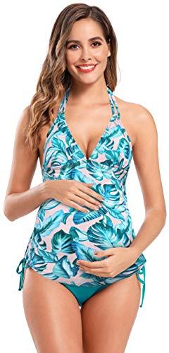 SHEKINI Premaman Costume da Bagno Donna Due Pezzi maternità Elegante Stampati Ruched Halter Regolabile Bikini Incinta Tankini Due Pezzi Triangolo Fondo Bikini da Spiaggia (2XL, Verde Scuro)