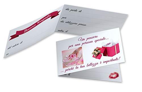 Buoni Regalo Estetista (da 50 a 250 pezzi) Buoni Omaggio Biglietti Pieghevoli Centro Estetico Gift Card Estetica Coupon Massaggi Cartoncino da Compilare Offerta Sconto Clienti (50)