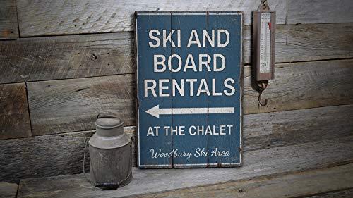 St234tyet - Cartello per noleggio sci e bordo, in legno per noleggio sci, noleggio tavole in legno, decorazione in legno