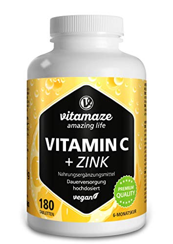 Vitamaze Vitamina C Pura 1000 mg Alto Dosaggio + Zinco, 180 Compresse Vegan per 6 Mesi, Vitamin C Dose Forte, Qualità Tedesca, Naturale Integratore Alimentare senza Additivi non Necessari