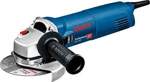 Bosch Professional GWS1400 Smerigliatrice Angolare, Ø 125 mm, Flangia di Montaggio, Cuffia di Protezione, Dado di Serraggio, Chiave a 2 Perni, Confezione in Cartone, 1400 W, 230 V, Blue/Nero