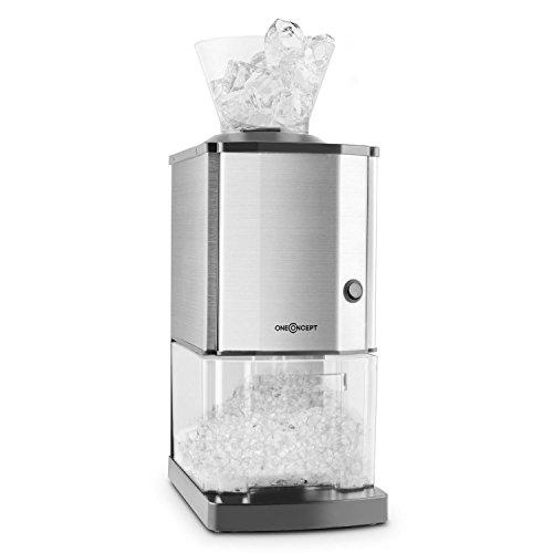 oneConcept Icebreaker - Tritaghiaccio, 15 kg/h, 3,5 litri (circa 1,75 kg) vaschetta di raccolta, Interruttore di sicurezza, compatto, facile da pulire, corpo in acciaio inox, argento