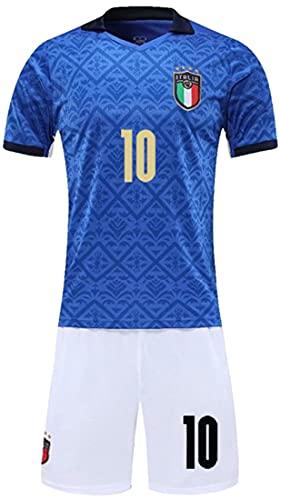 MINIDORA 2021 UEFA Euro FIGC Italia Maglie da Calcio per Tifosi Completo 2 Pezzi Italia Tute da Ginnastica da Calcio Nazionale Calcio Maglia per Uomo Maglietta e Pantaloni S(160-165cm,10 Insigne