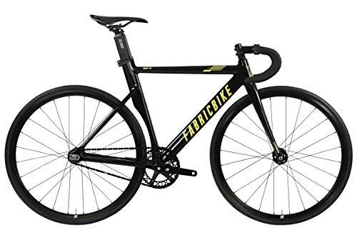 FabricBike Aero - Fixed Gear Bicicletta, Single Speed Fixie Completa mozzo, Telaio in Alluminio e Forcella in Carbonio, Ruote 28, 5 Colori, 7.95 kg (Taglia M) (Glossy Black & Gold, L-58cm)