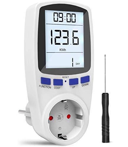 Gafild Misuratore dei costi energetici,Misuratore di Consumo Dell'Energia Elettrica con Schermo LCD,Display LCD Retroilluminato,3680W (Single-rate)