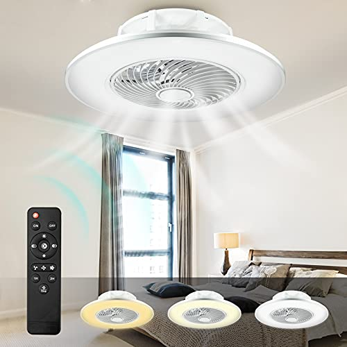LED Ventilatore A Soffitto Con Telecomando Dimmerabile LED Plafoniera A LED Plafoniera Con Telecomando, Lampada Da Soffitto Ventilatore 48W 3 Velocità E Timer Lampada Ventilatore Φ56 (Bianca)