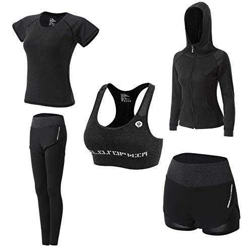 JULY'S SONG Abbigliamento Sportivo da Donna, T-Shirt 5set Suit per Sport Yoga Ginnastica Sport Include Manica Lunga e Corta, Pantaloni, Reggiseno, Morbido e Traspirante Confortevole