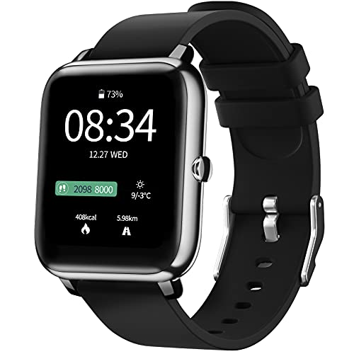 Smartwatch, IDEALROYAL Orologio Fitness Tracker Uomo Impermeabile Cardiofrequenzimetro, Monitoraggio Sonno, Orologio Uomo Donna Bluetooth Controllo della Fotocamera Musicale Android iOS