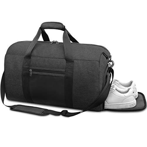 Borsone Palestra Uomo Borsa Sportiva con Scomparto Scarpe Borsa da Viaggio Duffel Bag Borsoni per Donna Impermeable 40L Nero