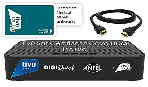Ricevitore HD Tivù sat Decoder digitale satellitare ad Alta Definizione HD Tivùsat Certificato, Tessera Tivusat HD inclusa, Uscite HDMI e SCART, anche per camper e barche, Cavo HDMI in DOTAZIONE