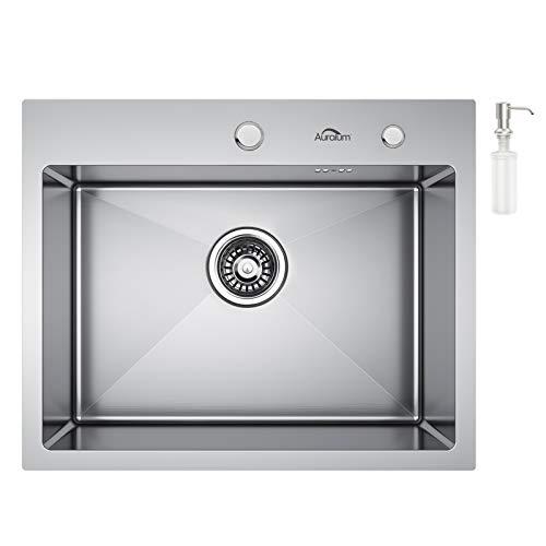 Auralum Lavelli Cucina 55 x 45 cm, Lavello a 1 Vasca in Acciaio Inox con Set di Drenaggio e Dispenser Sapone, 2 Fori di Preforato, Installazione a Sopratop o Filotop