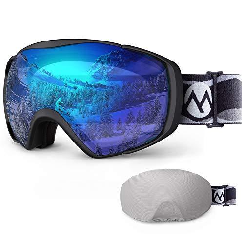 OutdoorMaster Maschere da Sci Premium Unisex con Custodia, Occhiali da Snowboard, Occhiali da Neve, Protezione UV al 100%, Occhiali da Sci Antiappannamento per Donne, Uomini, Ragazzi e Ragazze