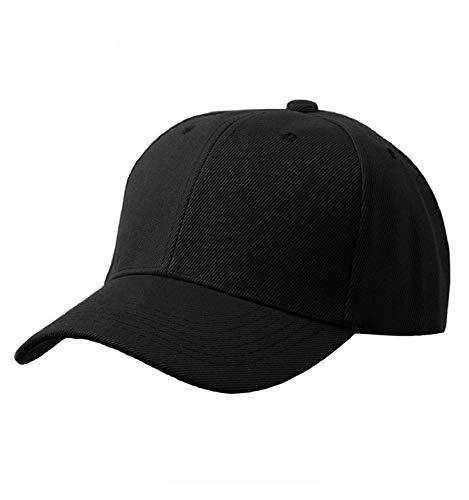 Yuson Girl Cappello Unisex del Cotone Berretto da Baseball delle Ragazze dei Ragazzi Snapback di Hip Hop Cappello Piatto, Cappello Uomo (AA-Nero)