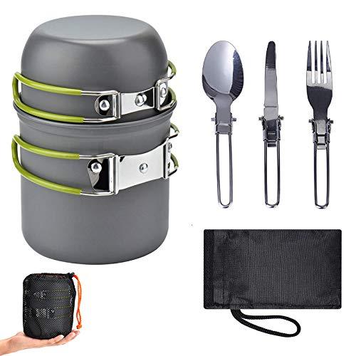 Kit da Cucina da Campeggio Parkarma Portatile Set di Pentole da Campeggio con borsa di stoffa Set Campeggio Pentole per 1 o 2 persone che viaggiano in trekking e in campeggio