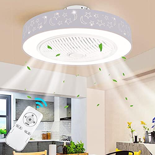 LEDMO Ventilatore a Soffitto con Lampada,Ventilatori da Soffitto Molto Silenzioso con Telecomando Sala da Pranzo Camera da Letto Soggiorno Ventilatore per soffitto LED dimmerabile Ø50CM