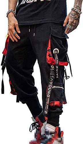 Pantaloni sportivi cargo da uomo, stile punk e streetwear, nero, L