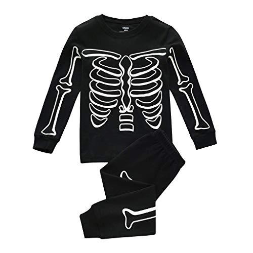 Janly - Set di biancheria da letto per bambini da 0 a 7 anni, con motivo scheletro, in cotone, per Halloween, per bambini da 4 a 5 anni, colore: nero