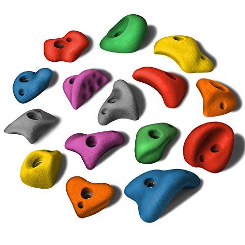 ALPIDEX 15 Prese M/L da Arrampicata in Kit, in Forme Diverse, Maniglie Piccole, gradini, in Diversi Colori, Colore:Colore Misto