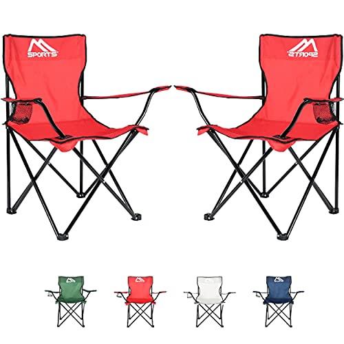 Sedia da campeggio Premium con borsa per il trasporto, sedia pieghevole – a scelta come set da 2 – Sedia pieghevole con braccioli e portabevande – pratica robusta e leggera (rosso, 2)