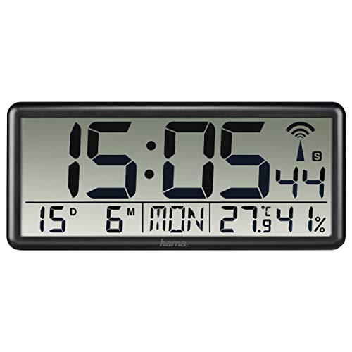 Orologio da parete radiocontrollato digitale 'Jumbo', nero