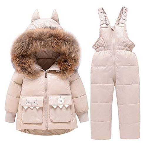 amropi Tuta da Sci per Bambino Unisex Tute Completo da Neve 2 Pezzi Invernale Giacca con Cappuccio e Pantaloni Beige,4-5 Anni