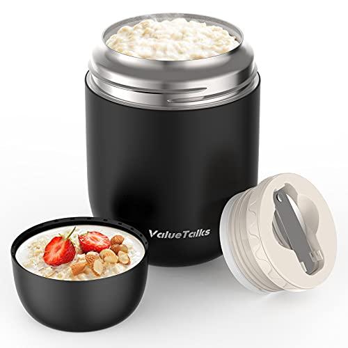ValueTalks Thermos per Alimentari 450ML Vuoto Isolato Acciaio Inossidabile Thermos Acciaio con Un Cucchiaio Pieghevole (Nero)