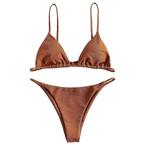 ZAFUL Bikini Donna Set da 2 pezzi di cravatta da donna strutturata con, marrone, L