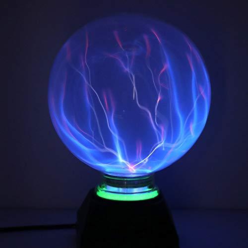 DAXGD Luci a sfera al plasma, luce al plasma magica da 5 pollici, lampada statica a globo, luce magica elettrostatica sensibile al tocco, luce blu