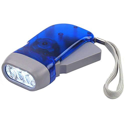 DIGIFLEX Torcia a 3 LED a pressione manuale, senza batteria, per campeggio, sopravvivenza
