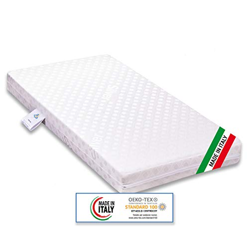 Materasso per Culla Lettino Bimbo Plus antisoffoco Misura 60x120 cm Alto 11 cm con Rivestimento sfoderabile e Lavabile in Lavatrice con guanciale antisoffoco in Omaggio.