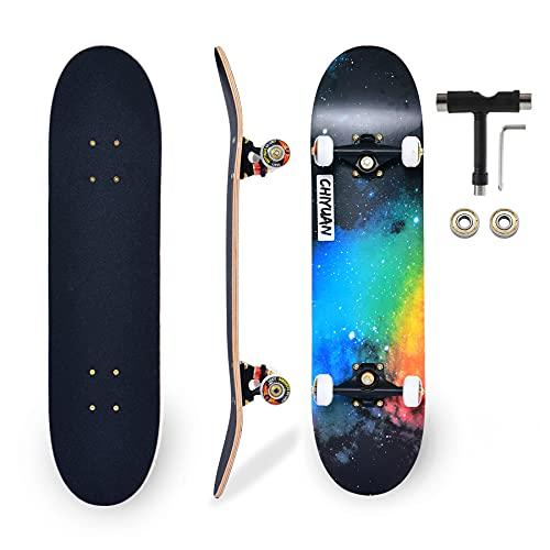 CARINL Skateboard Completo per Professionale, Principianti, Bambino, Giovani, Adulti, Skate- 80 x 20cm Tavola in Acero a 7 Strati Carico fino a 150kg