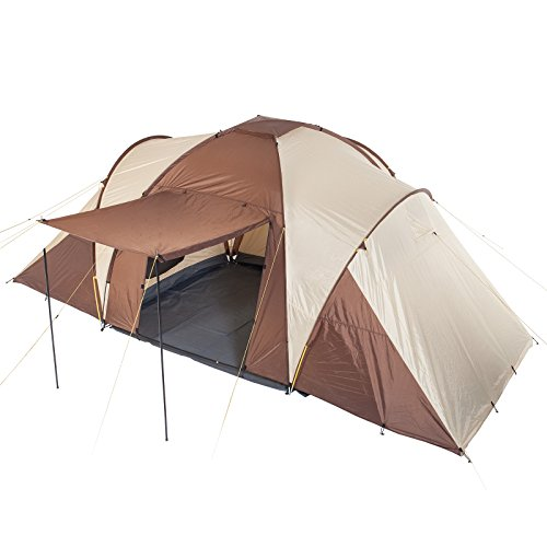 Skandika Daytona 6 Persone - Tenda Campeggio - Cupola - 3 Cabine - Zanzariera (Beige/Marron)
