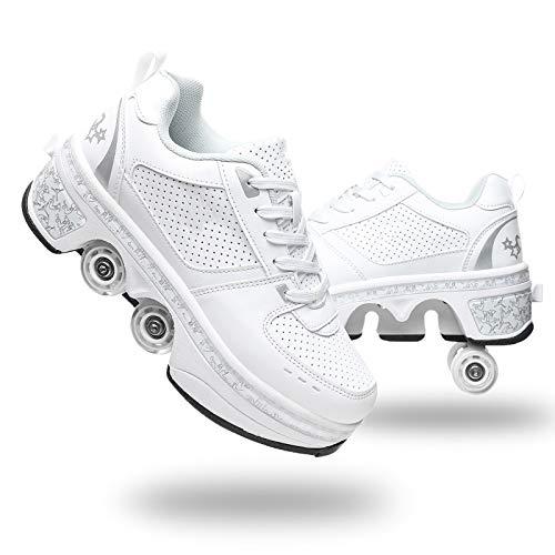 Scarpe con deformazione Multifunzionale Quad Skate Pattini a rotelle Pattinaggio Calzature Sportive da Esterno per Adulti