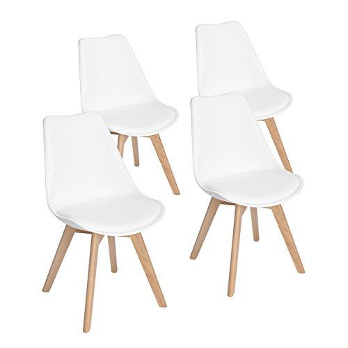 Set di 4 Pranzo/Ufficio Sedia con Gambe in Faggio Massiccio, EGGREE Sedie Senza Braccia Imbottita di Design per il Massimo Comfort Bianco