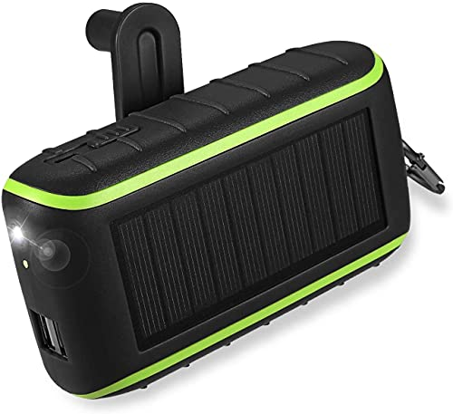 Workingda Power Bank 10000mAh Caricabatterie Portatile Solare Power bank, 2 Porte USB Batteria Esterna con Torcia a LED