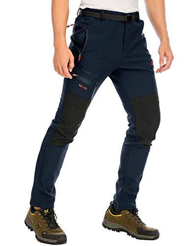 DAFENP Pantaloni Trekking Sci Uomo Invernali Pantaloni da Lavoro Termici Impermeabile Pantaloni Neve Softshell Montagna Escursionismo Caldo All'aperto (Large, A Blu Scuro)
