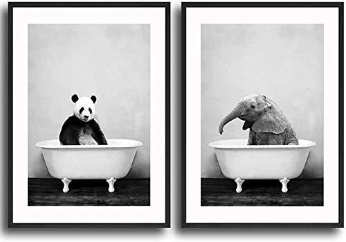 QWEWQE Stampa su tela con immagine di elefante, panda nella vasca da bagno, immagine di animali minimalisti, arte moderna per la decorazione del bagno (senza cornice,30 x 40 cm x 2)