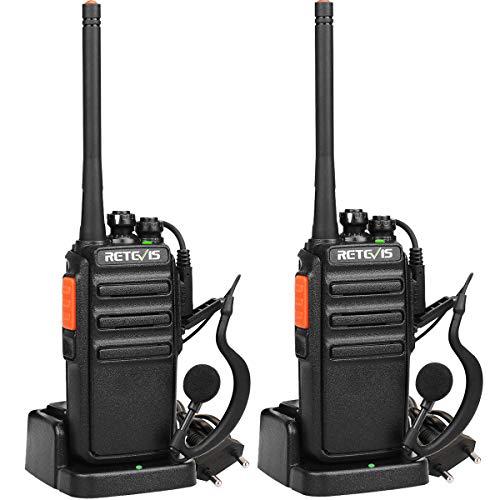 Retevis RT24 Walkie Talkie PMR446 Licenza-Libero, Ricetrasmittenti Professionali con Auricolare, 16 Canali VOX CTCSS/DCS, Walkie Talkie Ricaricabili (2 Pezzi, Nero)