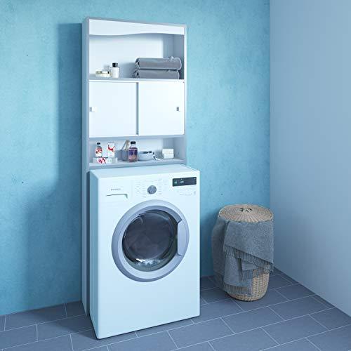 13Casa Mobile Click per lavatrice, truciolare, melaminico, bianco, 177 x 64,3 x 19,2 cm